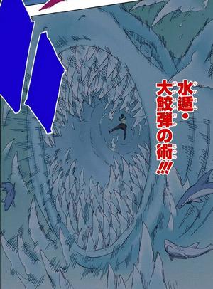 Elemento Agua Jutsu de Bala Tiburón Gigante Manga