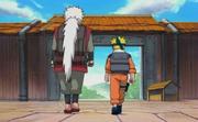 Jiraiya parte de Konoha con Naruto