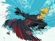 Kakashi utilizando el Kamui en Deidara