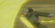 Kirigi lanzando bolas de fuego con el sello maldito activado