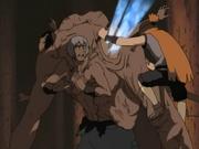 Sasame derrota o lado de Jigumo de Arashi