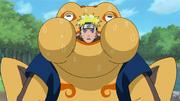 Naruto entrenando jutsus combinados con Gamatatsu