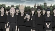 Los ninja de Konoha reunidos en el funeral de Asuma