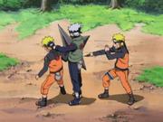 Naruto engaña a Kakashi con sus Clones