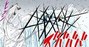 Sasuke destroza el hielo con su Amaterasu