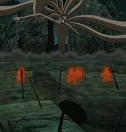 Shikamaru inmovilizando al Diez Colas