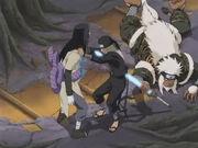 Hiruzen luchando para sellar el alma de Orochimaru