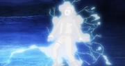 Naruto es electrocutado por el Chidori Ragan de Sasuke