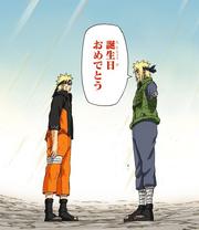 Minato se despide de Naruto