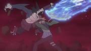 Shizuma fusionado con Samehada luchando contra Kagura