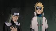 Hiruzen y Minato sorprendidos y aliviados