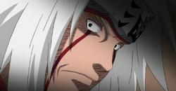 Jiraiya amenazando a Tsunade con matarla si traiciona a Konoha
