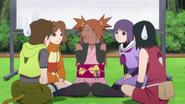 Chōchō reclamando de fome para as amigas