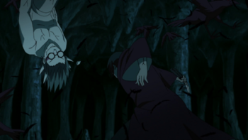 Trapped within an endless loop, Kabuto's horn is severed…