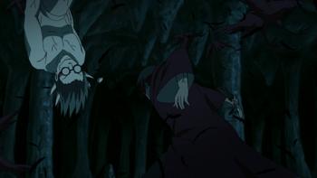 Złapany w nieskończonej pętli, róg Kabuto zostaje odcięty.