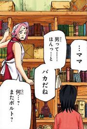 Sarada y Sakura hablando