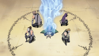 Tsunade's chakra being transmitted…