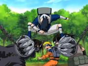 Sasuke atacando os Irmãos Demônios