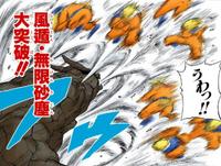 Liberação de Vento Nuvem de Areia Infinita — Grande Destruição (Mangá)