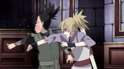 Temari le da una cachetada a Shikamaru para que reaccione