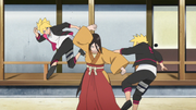 Boruto luchando contra Hanabi