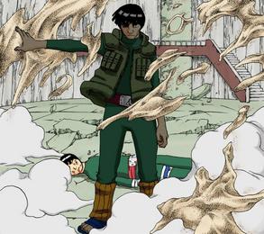 Guy protege Lee da areia de Gaara Colorido (Guy)