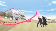 Urashiki atacando os genin