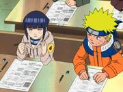Naruto e Hinata no primeiro exame
