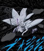 Obito se protege del Amaterasu con sus esferas de chakra Manga