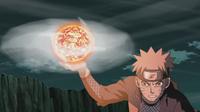 Naruto criando um Rasenshuriken de Lava
