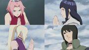 Las kunoichis se preperan pasa sellar el Sanbi