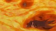 Chakra de Naruto protegiendo del Fuego