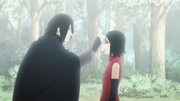Sasuke se despide de Sarada