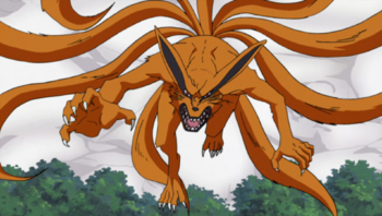 Naruto and Gamabunta transformed into a replica of the Nine-Tails.
