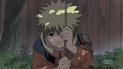 Naruto entristecido tras reprobar el examen de graduación