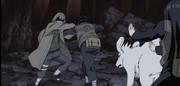 Kiba, Akamaru e Hinata atacam Shino