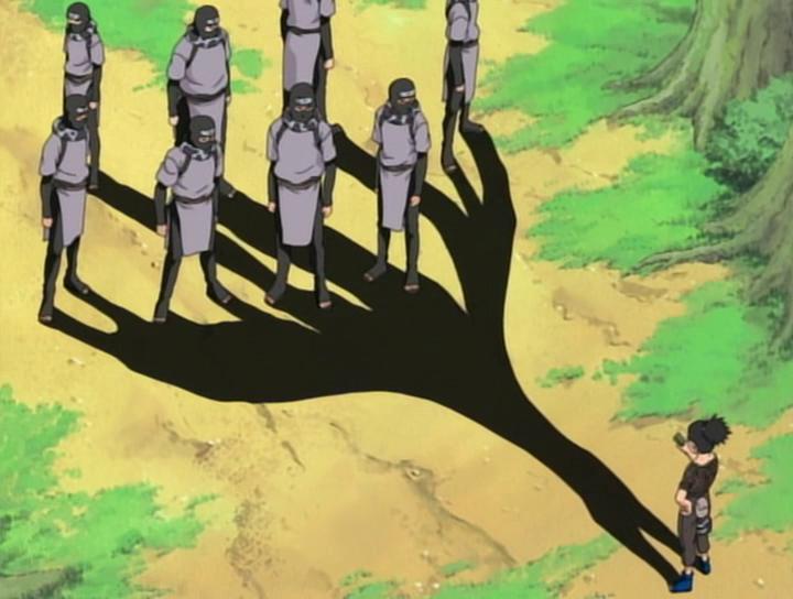 Shikamaru's shadow catches multiple enemies