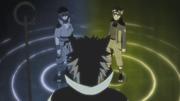 Hagoromo habla con Naruto y Sasuke, los reencarnados actuales