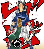 Lee golpeia Sasuke (Mangá Colorido)