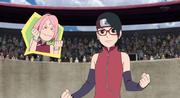 Sakura emocionada por la victoria de Sarada
