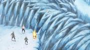 O corpo verdadeiro de Naruto é capturado pelos picos de gelo