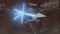 Gamakichi repele os ataques do Dez-Caudas