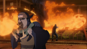 Inabi e o shinobi da pedra reencarnado incinerando a Vila Tonika