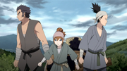 Rō, Soku e Shikamaru disfarçados de camponeses