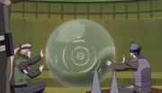 Ao e Inoichi creando la Barrera de Detección