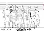Screenshot=Jirobo, Choji, Tayuya, Shikamaru, Kidomaru, Neji, Sakon, Kiba, Akamaru e Naruto