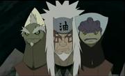 Shima junto con Jiraiya y Fukasaku