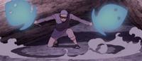 Hiramekarei dividida en dos espadas