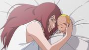 Kushina mourante après son accouchement et l'extraction de Kyûbi