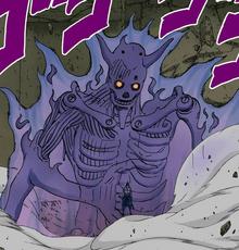 El Poder de la Oscuridad, Sasuke protegiéndose con su Susanoo incompleto